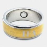 Inel magnetic otel inoxidabil stralucitor placat cu aur cod VOX 8008