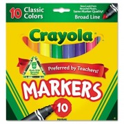 Crayola Non Washable Markers, Broad Point, Classic Colors, 10/Set