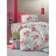 Lenjerie de pat din bumbac cu 4 fete de perna Valentini Bianco VKR10 Rose