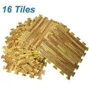 [Set of 16] Printed Wood Grain Floor Mat 3/8 Thick Interlocking EVA Foam Puzzle Flooring Tiles - Each Tile Measures 1 Square Foot for Home Office Playroom Basement