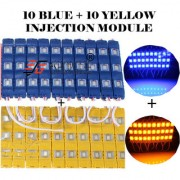 Eshopglee 3 LED DC 12V Waterproof Injection Led Modules Light 5630/5730 SMD - 10+10 Module (Blue+Yellow) + Free 12v Dc Adaptor