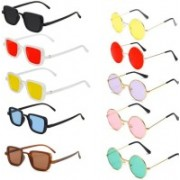 EDDYFASHIONHUB Round, Rectangular Sunglasses(Red, Yellow, Violet, Pink, Green)