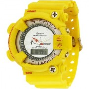 Evelyn Round Dial Yellow Pu Strap Quartz Watch For Men
