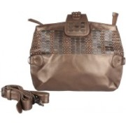 JL Collections Women Grey Genuine Leather Sling Bag