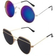 Daller Round, Retro Square Sunglasses(Black, Blue)