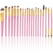 ER Nuevo Conjunto De 20 Piezas De Cepillos Profesionales Paquete De Pinceles De Maquillaje Completos Rosa + Oro.