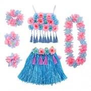 Amosfun Hawaii Tropical Hula Falda de Hierba Pulseras de Flores Cabeza Loop Cuello Conjunto de Coronas Conjunto de Disfraces de Fiesta de Hawaii Conjunto de artículos para Fiestas Tropicales