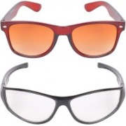Aligatorr Wayfarer, Retro Square Sunglasses(Golden, Clear)