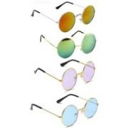 predy Oval, Round Sunglasses(Orange, Green, Pink, Blue)