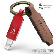 Adam Elements iKlips Duo+ iPhone Flash Drive with Premium Protective Leather Keychain Case 128GB (Red)