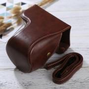 Full Body Camara Caja De Cuero De La PU Bolsa Con Correa Para Sony Ilce-6500 / A6500 (café)