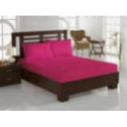 Set pat 3 piese Mally Fucsia cearceaf pat dublu cu elastic si doua fete de perna 100 bumbac