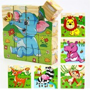 Holzsammlung 16 Pcs Wooden Cube Block Jigsaw Puzzles - Forest Animal Pattern Blocks Puzzle for Child 1 Year and up Perfect Christmas Gift Your Kids