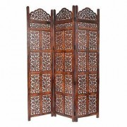 Shilpi Handicrafts Wooden Room Divider Screen Partition Made in Mango Wood Frame Jali in MDF Panel 3