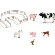 Schleich Mixed Farm Life with Pasture Fence, Holstein Bull, Fell Stallion, Hereford Calf, Pig, Piglet and Duck Shipped with Tissue Paper in Bag