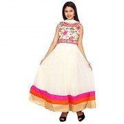 Stuties Women Anarkali net with Hand work in neck line with Chanderi Silk lining Readymade salwar kameezY097C3XL Pink