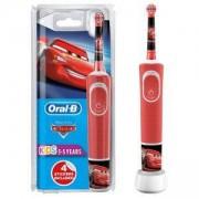 Детска електрическа четка за зъби Oral-B Stages Power Kids, Disney Pixar Cars, за деца над 3 годинки, 4 сменяеми стикера, Червена