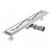 [neu.haus]® Nerezový podlahový žľab – moderný odtok do sprchy - vzor vĺn - (100x7cm)