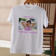 Fényképes póló felirattal