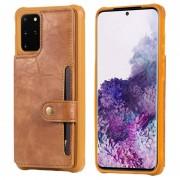 Samsung Voor Galaxy S20 Plus Shockproof Horizontale Flip Beschermhoes met Houder & Card Slots & Wallet & Photo Frame & Short + Long Lanyard(Brown)
