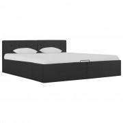 vidaXL Легло с повдигащ механизъм, тъмносиво, текстил, 160x200 см