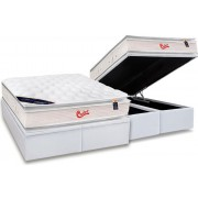 Conjunto Box Baú - Colchão Castor Molas Pocket Viategel SLX Double Face + Cama Box Baú Courino Bianco - Conjunto Box Solteiro - 088 x 188