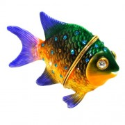 "Objet DArt Release #333 ""Pacific Jewel Damselfish"" Tropical Fish Handmade Jeweled Enameled Metal Tri"