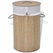 vidaXL Coș de rufe cilindric din bambus maro