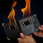 MilesMagic Magician's Fire Wallet Flames On Men's Wallet Close up Stage Real Magic Trick, Black