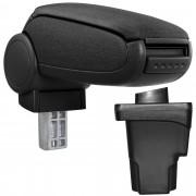 Středová loketní opěrka - vhodná pro: Seat Leon III (Typ 5F) / Rok výroby od 2012 - Látkový potah (plochá tkanina) - Černá s černými švy