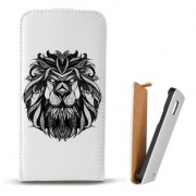 Toc Samsung Galaxy Core 4G LTE G386F Husa Piele Ecologica Flip Vertical Alba Model Lion Abstract