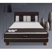 Basika Sommier+tete de lit+oreillers+matelas+pieds Pack total Basika Gris