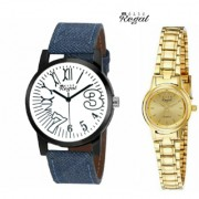 Mark Regal Denim Leather Strap Men's+Gold Plated Women's Watches Combo