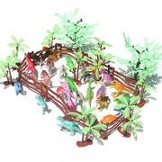 YeahiBaby Mini Dinosaur Play Set - 24 Realistic Dinosaurs, 12 Trees, 10 Fences