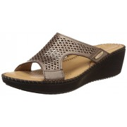 Dr. Scholls Women's Laser Mule Wedge Beige Leather Slippers - 6 UK/India (39 EU)(7748916)