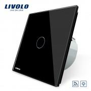 Intrerupator wireless cu variator cu touch Livolo din sticla, negru