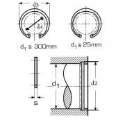 pojistný kroužek 190x4.0 BEZ PÚ pro díru, vnitřní DIN 472