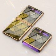 GKK Folding Painted Tempered Glass Phone Case for Samsung Galaxy Z Flip - Yellow Triangle
