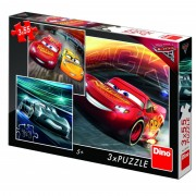Puzzle 3 in 1 Cars 3 Cursa cea mare, 55 piese, 5-8 ani