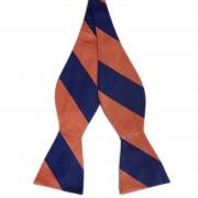 TND Basics Marineblau & Orange Gestreifte Selbstbinder Seidenfliege
