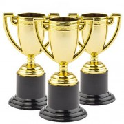 Baker Ross Mini Plastic Trophies -6 x 93mm tall Gold Small Plastic Trophies. Plastic award cups for kids. Ideal for prizes and sports days.