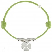 Les Poulettes Bijoux Bracelet Lien Trèfle Argent - Colors - Vert