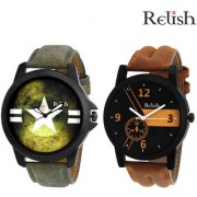 Relish RE-SHOP-0037 Analog Round Casual Wear Watches Combo for Mens