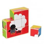 Jucarie eco din lemn Puzzle cubic Animale de la Ferma Hape