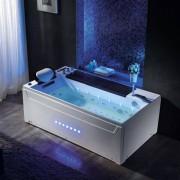 Distribain Baignoire balnéo rectangulaire Monté-Cristo whirlpool 40 jets + massage des cervicales