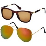 Freny Exim Aviator, Wayfarer Sunglasses(Brown, Golden)