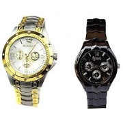 Rosra Gold -Silver And IIK Black Women Watches Couple For Men and Women