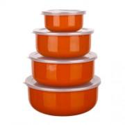 Banquet 1320088SO Zománcozott ételtároló edény, műanyag tetővel 8 részes Narancs