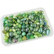 eshoppee 200 gm handmade fancy furnace glass bead beads for jwellery making art and craft diy kit (green 200 gm)