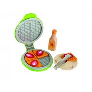 Hape International Instant Waffles Kid's Wooden Kitchen Play Food Set and Accessories